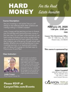 Hard Money Class for Real Estate Investors @ Canyon Title